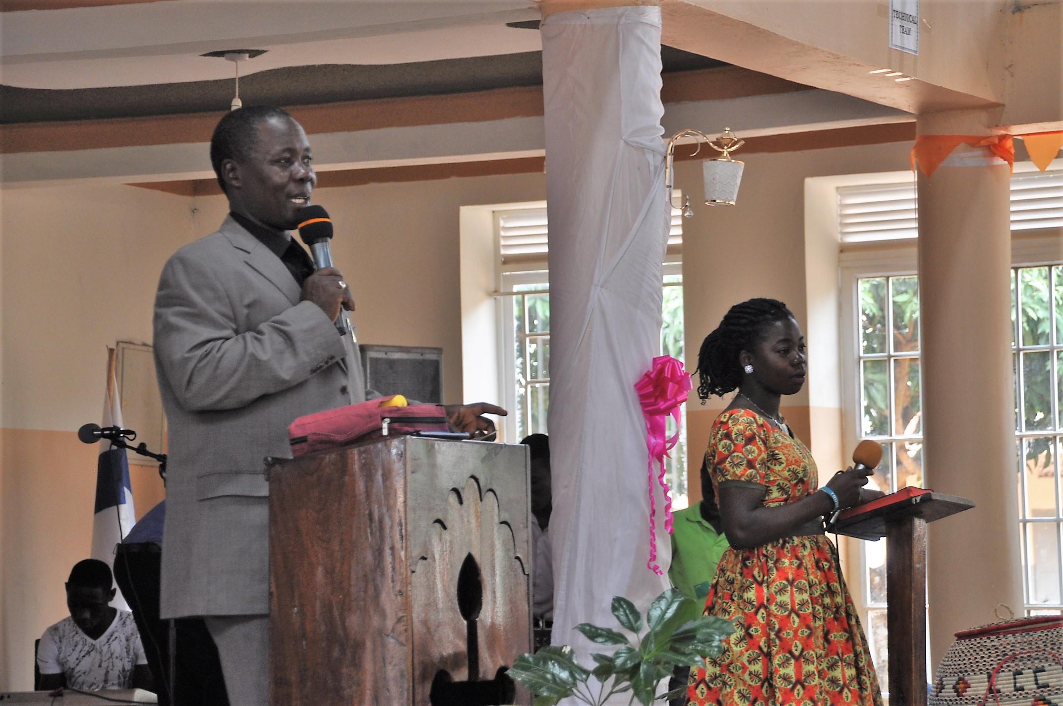 Gabriel leading worship with Bush